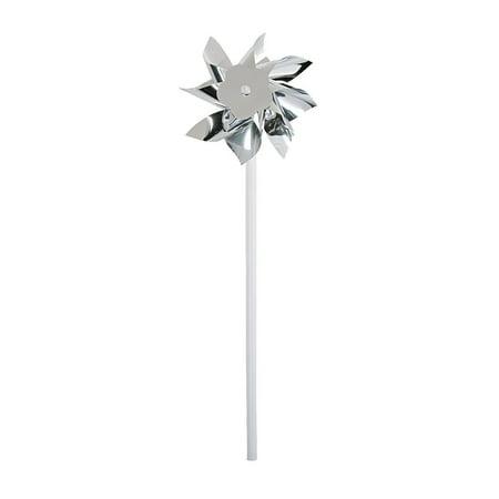 Fun Express - Silver Plastic Pinwheels (3dz) for Wedding - Toys - Value Toys - Pinwheels - Wedding - 36 Pieces](Pin Wheels)