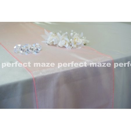 Perfectmaze 12 x 108 Inch Coral Organza Table Runner for Wedding, Party, Engagements, Formal Events Table Decoration (Coral Table Runner)