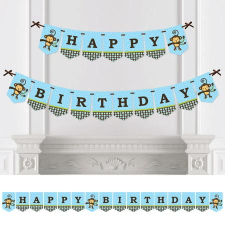 Monkey Boy - Birthday Party Bunting Banner - Blue Party Decorations - Happy - Birthday Monkey