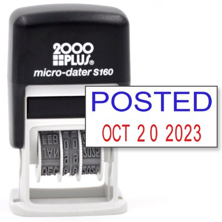 Cosco 2000 Plus Self Inking Rubber Date Office Stamp With Posted Phrase Blue Ink   Date Red Ink  Micro Dater 160   12 Year Band