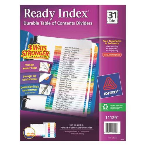 1-31 Tab Index Divider, White ,Avery, 11129