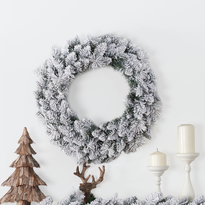Holiday Time Winter Frost Flocked Un Lit Wreath 24 Walmart Com Walmart Com