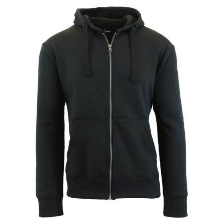 Mens Fleece Hoodie With Thermal Lined Hood Slim Fit Zip-Up Sweater ()