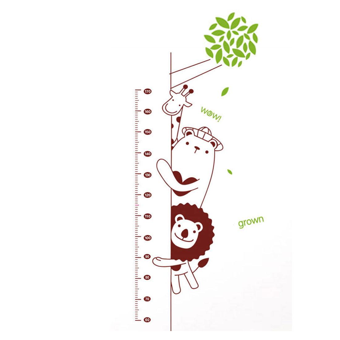 Unique Bargains Household Giraffe Lion Bear Growth Height Measure Chart Pattern Wall Sticker