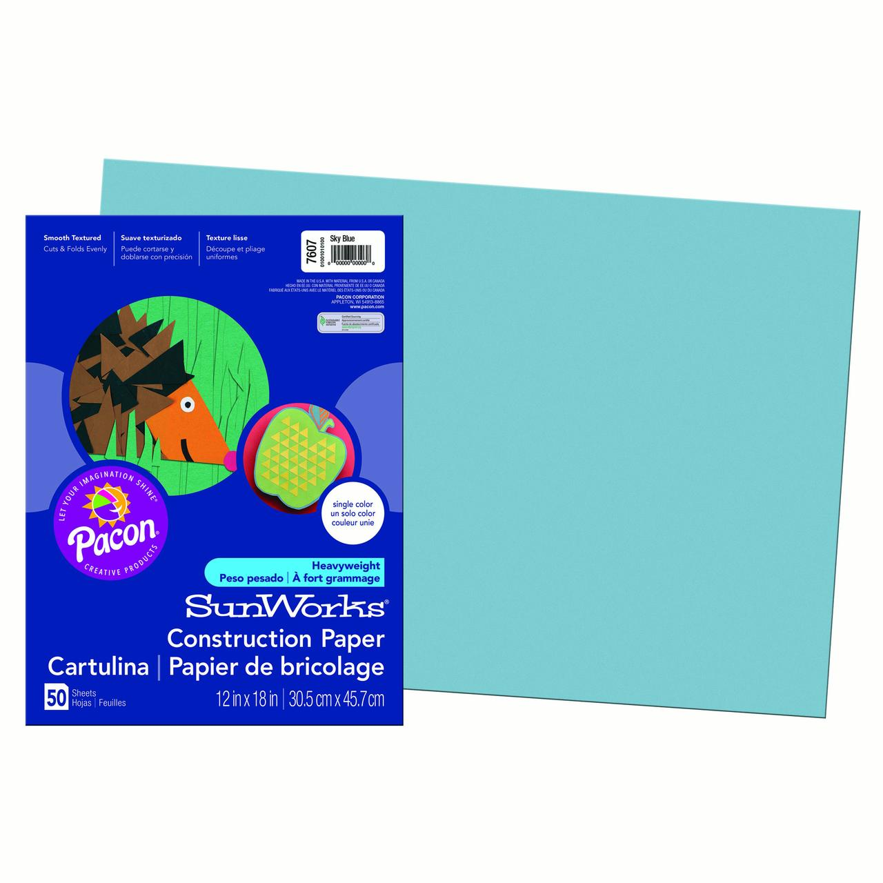 "Pacon® SunWorks® Construction Paper, 12"" x 18"", Sky Blue - 50 Sheets per pack, 10 packs"