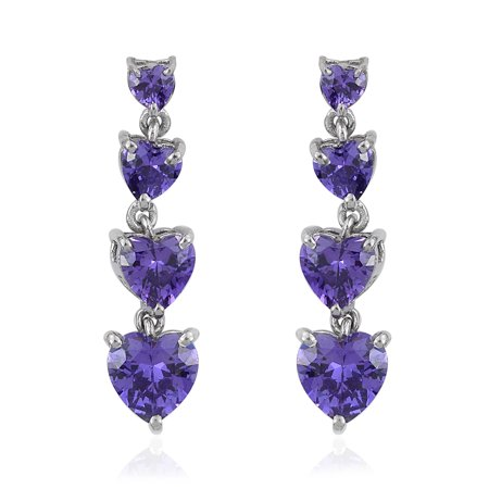 KARIS Collection - Simulated Purple Diamond Platinum Bond Brass Heart Drop Earri