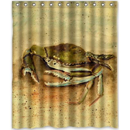 DEYOU Big Crab Shower Curtain Polyester Fabric Bathroom Size 60x72 Inches