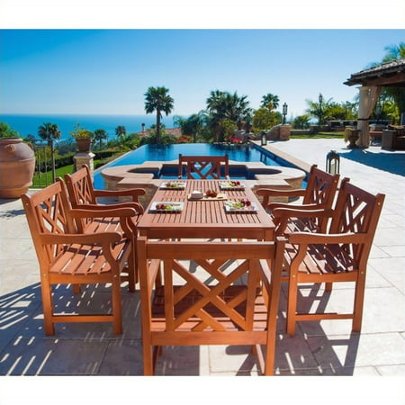 Malibu Outdoor 7-piece Wood Patio Dining Set (Vifah Vista 7 Piece Wood Patio Dining Set)