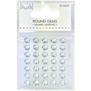 Simply Creative Round Adhesive Gems 35/Pkg-Clear/Silver