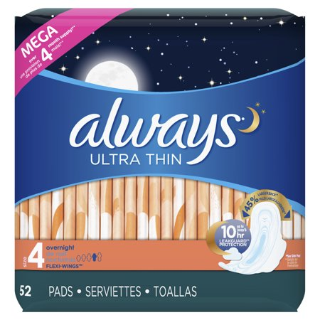 ALWAYS Ultra Thin Size 4 Overnight Pads With Wings Unscented, 52 Count