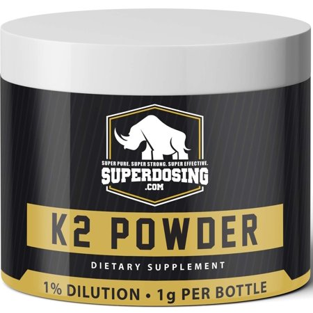 SuperDosings Bulk Vitamin K2 Powder 1000x 1mg Servings with Scoop. Buy High Strength Wholesale K-2 to Save & Supplement Your Health & Diet Regime. Essential For Strong & Healthy Bones, Joints & Heart - Buy In Bulk Wholesale