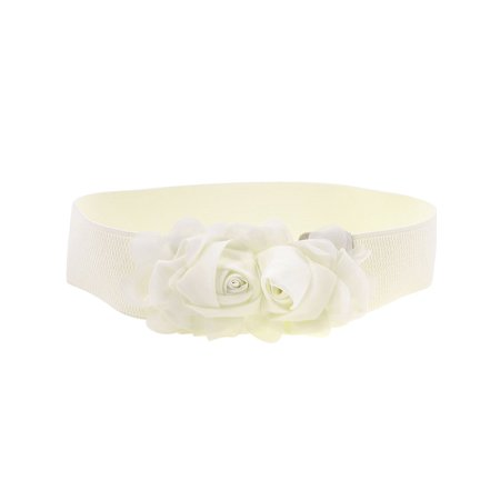 Ladies   Chiffon Flowers Press Stud Button Elastic Textured Band Waist (Belted Chiffon Belt)