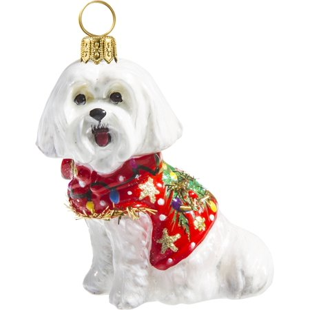 Maltese in Ugly Christmas Sweater Dog Polish Glass Tree Ornament Pet -