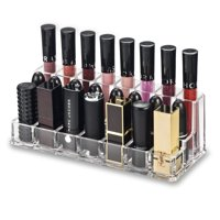 BY ALEGORY Acrylic Lip Makeup Organizer | Combination Rows For Lip Gloss (Back Row), Lipstick & Larger Base Lipsticks (Front Row)