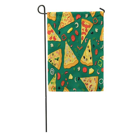 KDAGR Pattern Color of Pizza Slices Various Ingredients Box Cheese Cook Garden Flag Decorative Flag House Banner 28x40 inch - Ingredients Cheese Pizza