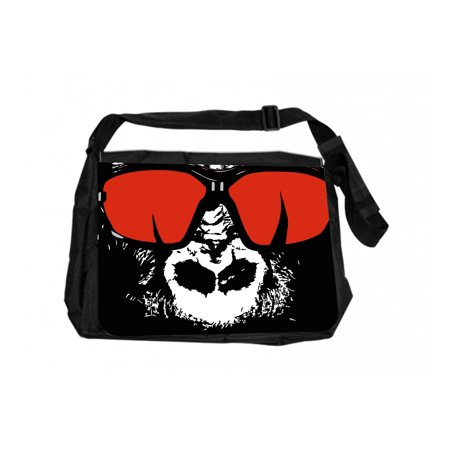 Gorilla In Red Shades Black Laptop Shoulder Messenger Bag and Small Wire Accessories Case Set