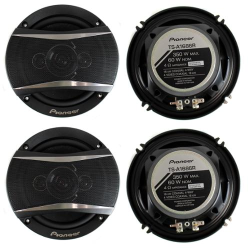 4) Pioneer 6.5 Inch 4-Way 700 Watt Coaxial Black Car Speakers Four | TS-A1686R
