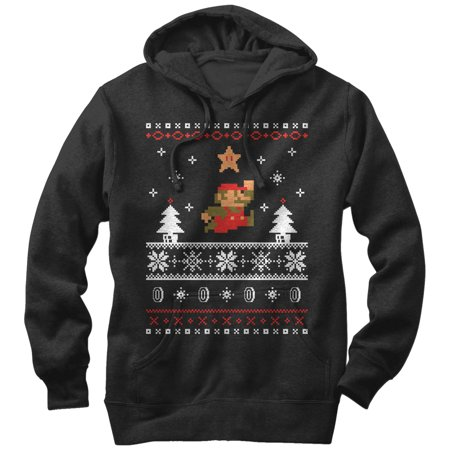 Nintendo Mario Ugly Christmas Sweater Mens Graphic Lightweight Hoodie
