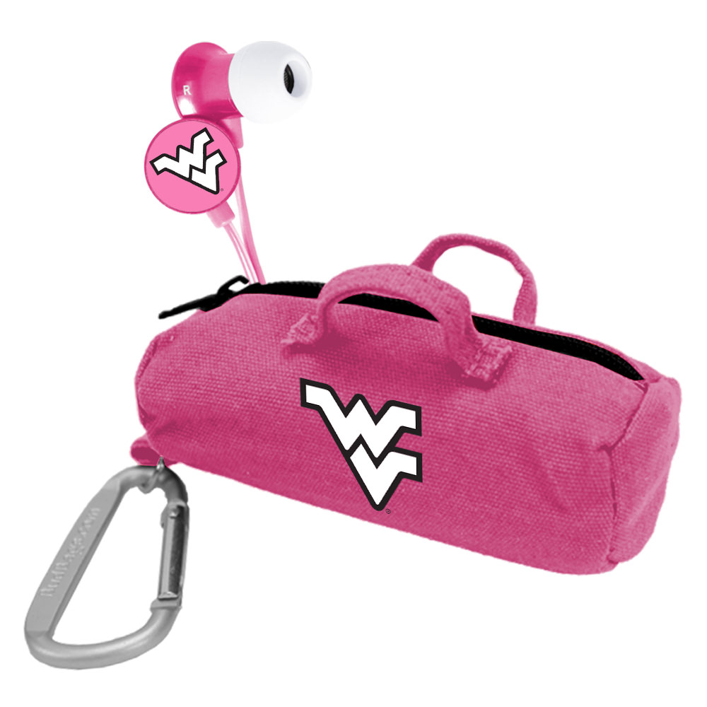West Virginia Mountaineers Pink Scorch Earbuds with BudBag