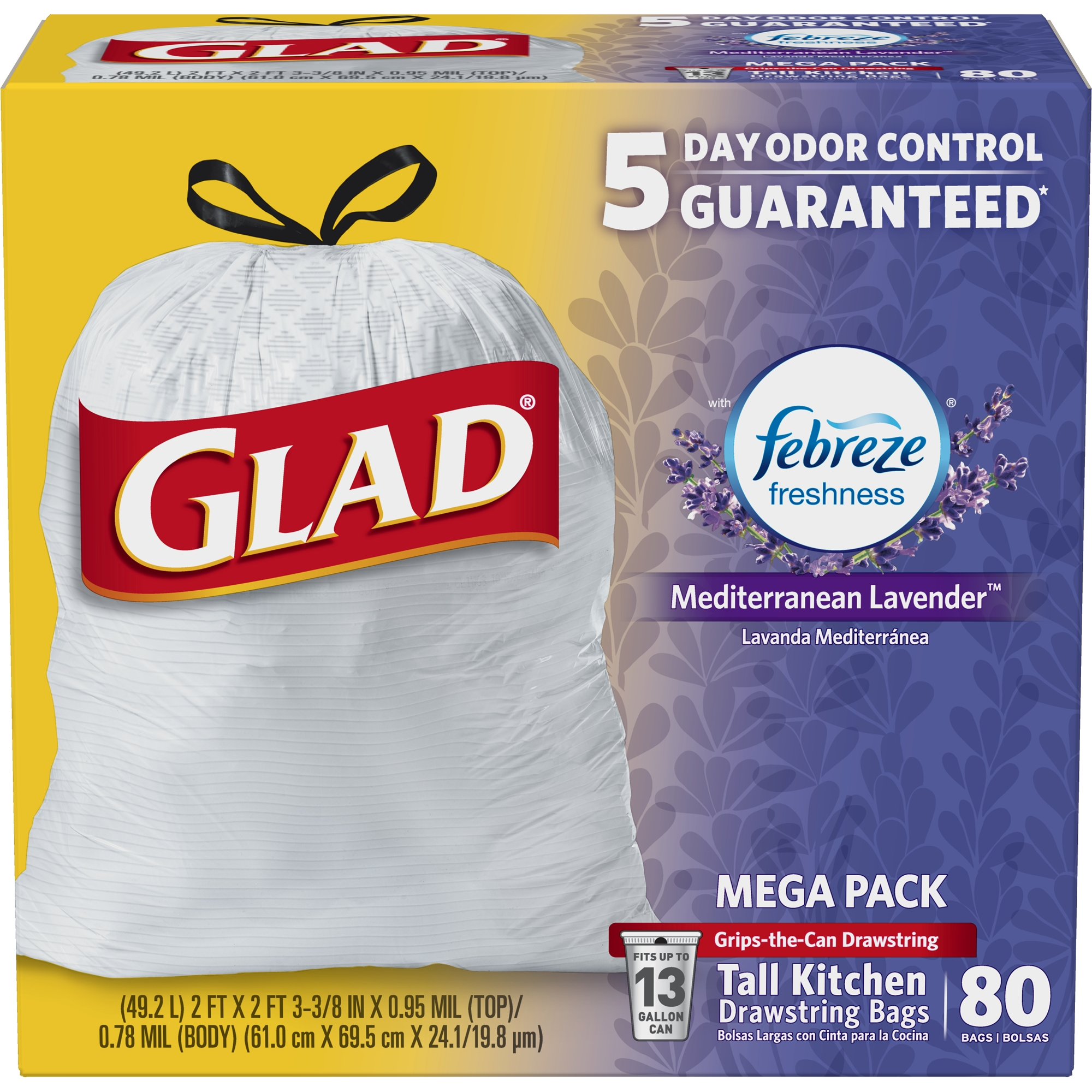 Glad OdorShield Tall Kitchen Drawstring Trash Bags - Febreze Mediterranean Lavender - 13 Gallon - 80 ct