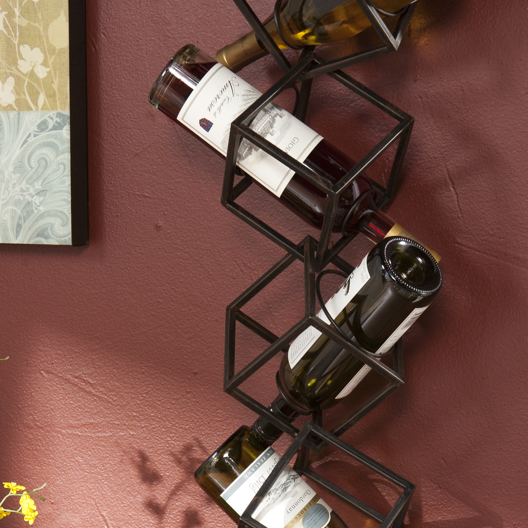 Southern Enterprises Nyssa 5 Bottle Wall Mounted Wine Rack Walmartcom
