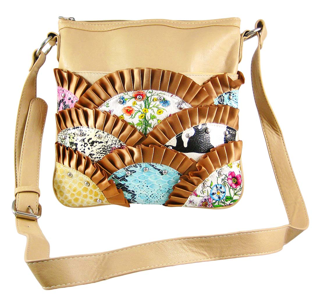 Tan Multi Color/Print Ribbon Ruffle Trim Bag