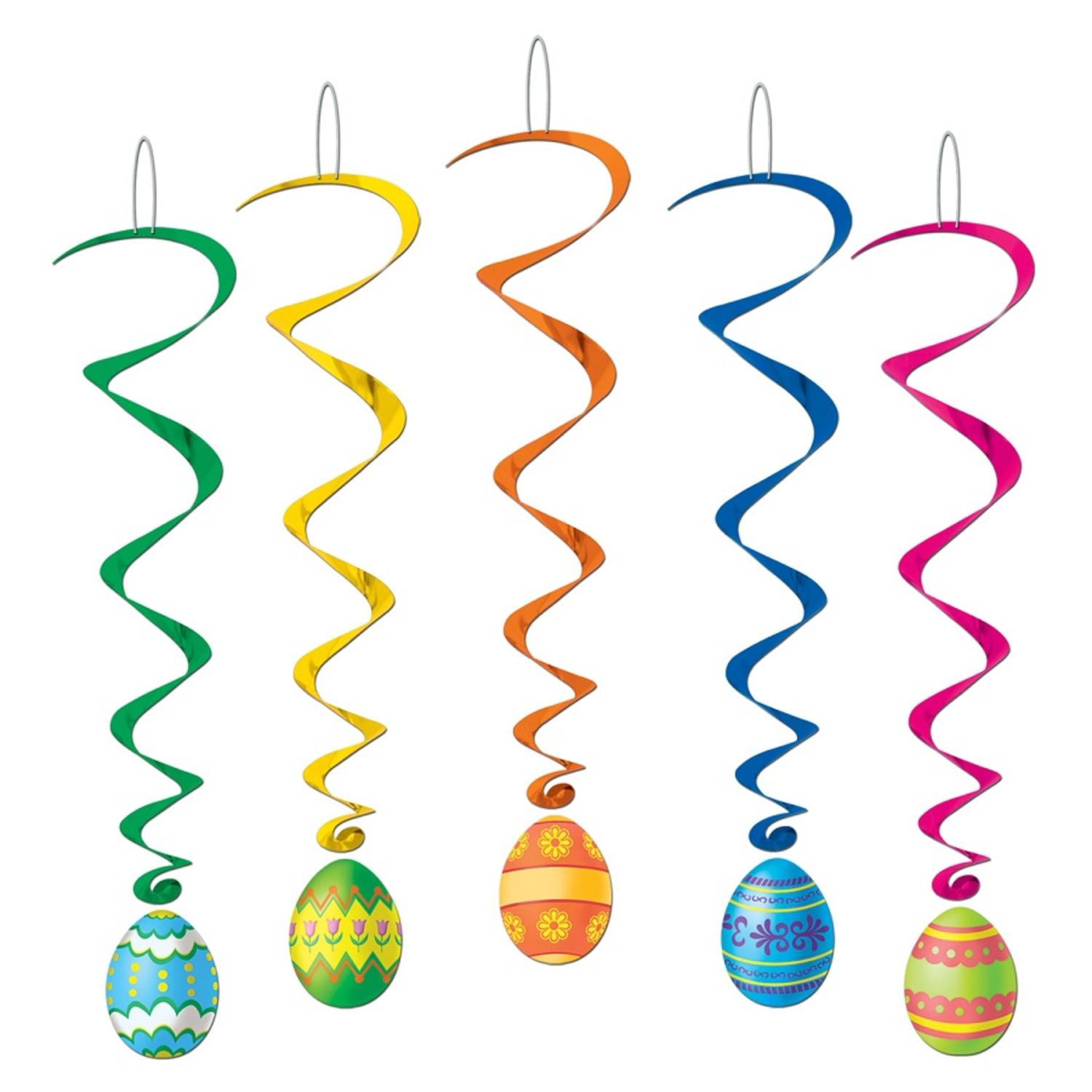 Club Pack of 30 Vibrant Easter Egg Whirls Hanging Decorations 3.25