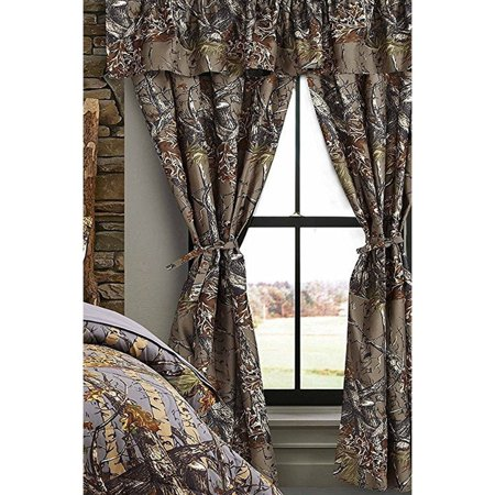The Woods Grey Camouflage 5pc Curtain Set by Regal Comfort For Hunters Cabin or Rustic Lodge Teens Boys and Girls (Curtain, Grey)