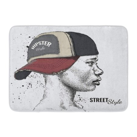 GODPOK Advertise Black Vintage African American Man in Baseball Cap Profile View Hand Draw Accessory Africa Rug Doormat Bath Mat 23.6x15.7 inch
