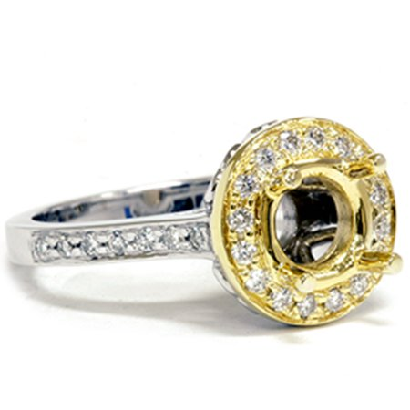 1/2ct Gold Pave Halo Diamond Engagement Ring Setting Vintage Heart Heirloom (4-9) - image 2 de 2