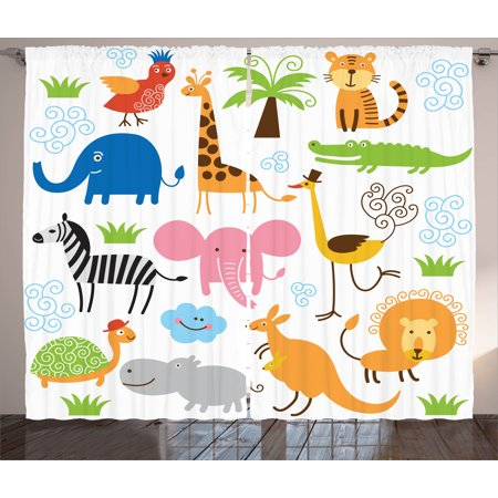 Animal Curtains 2 Panels Set, Cute Set of Giraffe Elephant Zebra Turtle Kids Nursery Baby Themed Cartoon Comic Print, Window Drapes for Living Room Bedroom, 108W X 90L Inches, Multi, by Ambesonne