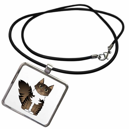 - 3dRose Cute Maine Coon Cartoon Cat - Brown Tabby with White - Necklace with Pendant (ncl_35523_1)