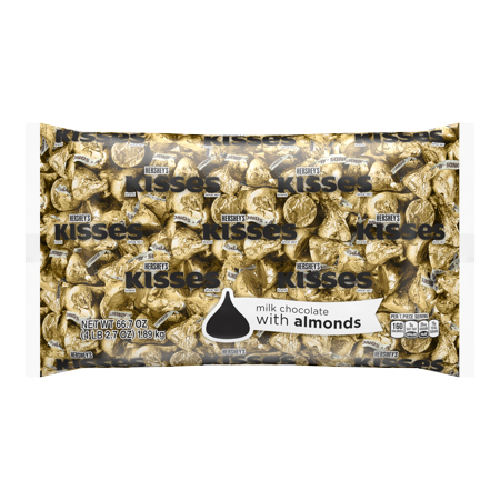 Kisses, Milk Chocolate with Almonds Candy Gold Foil, 66.7 (Kerr's Halloween Kisses)