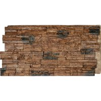 "48""W x 24""H x 1 1/4""D Cascade Stacked Stone, StoneWall Faux Stone Siding Panel, Canyon Brown"