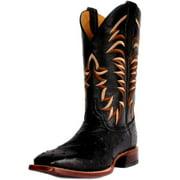 Cinch Western Boots Men Cowboy Ostrich Leather Square Toe Black CFM550