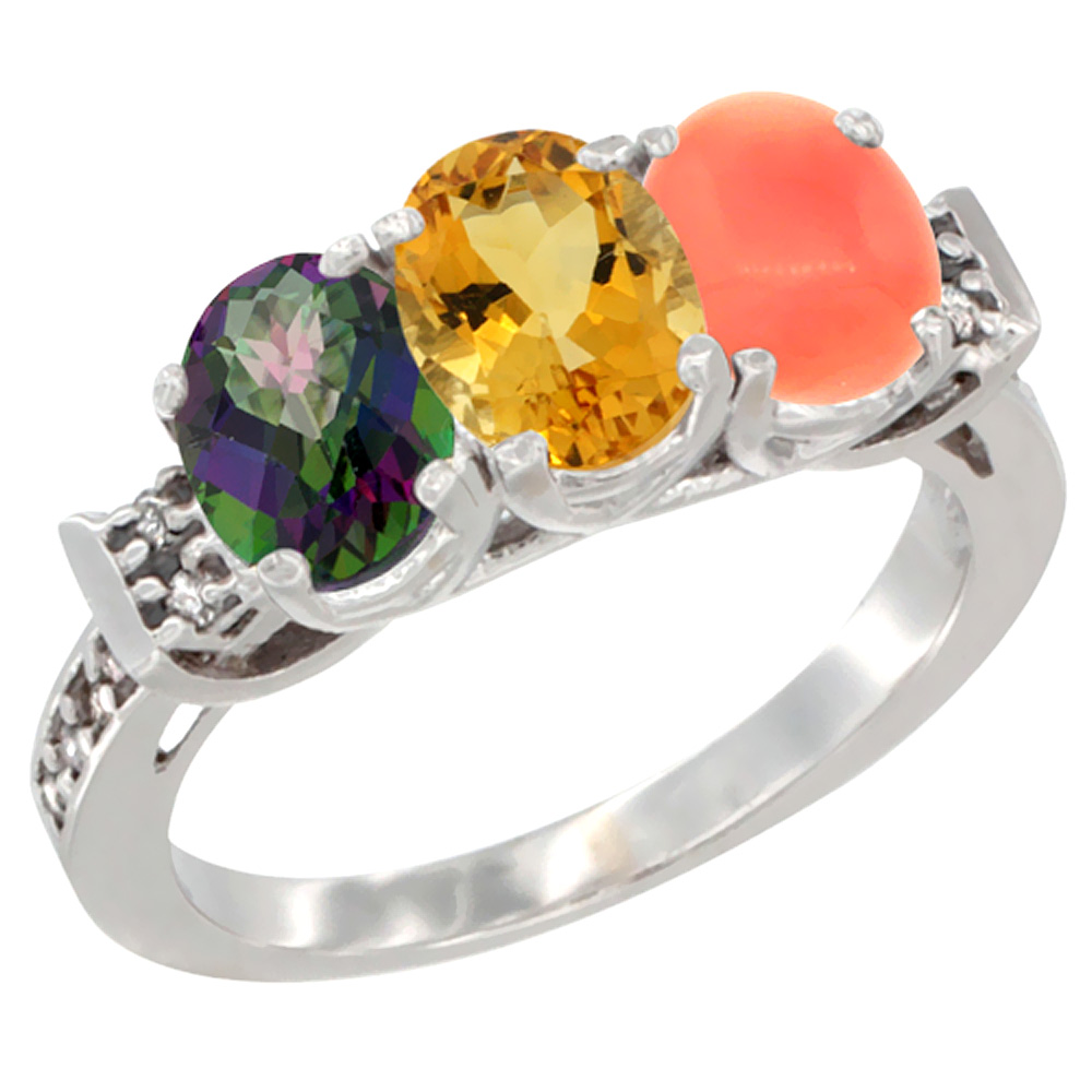 10K White Gold Natural Mystic Topaz, Citrine & Coral Ring 3-Stone Oval 7x5 mm Diamond Accent, sizes 5 10 by WorldJewels