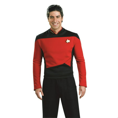 Star Trek Mens Next Generation Deluxe Red Shirt Adult Halloween Costume - Data Star Trek Costume