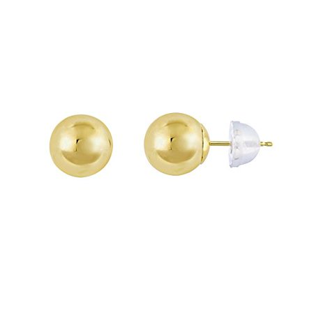 Comfort Fit 14k - 14kt Yellow Gold Balls Stud Earrings with Comfort Silicone Back (7mm)