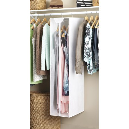 """Whitmor Large Zippered Garment Bag / Closet - White with Clear Front - 20"""" x 12"""" x 54"""""""