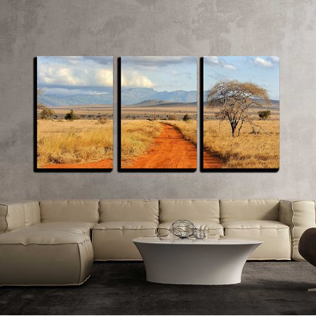 - wall26 - 3 Piece Canvas Wall Art - Beautiful Landscape with Tree in Africa - Modern Home Decor Stretched and Framed Ready to Hang - 16