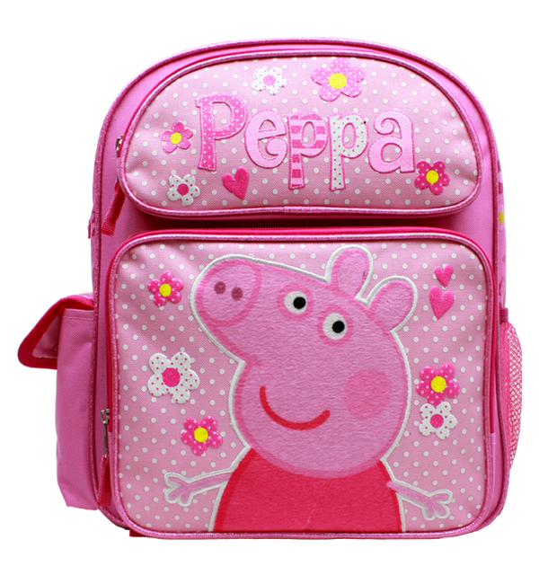 "Medium Backpack - Peppa Pig - Pink Flowers 14"" School Bag New PI30306"