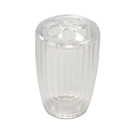 Ribbed Acrylic Bath Accessory Tooth Brush Holder - Super Clear