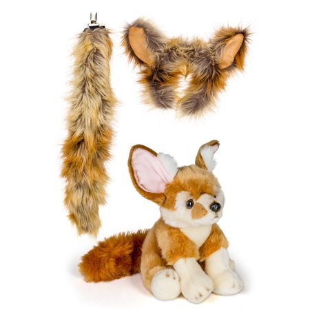 Wildlife Tree Fennec Fox Ears & Tail Set w/ Stuffed Animal Pretend Play (Anime Girl With Fox Ears And Tail)