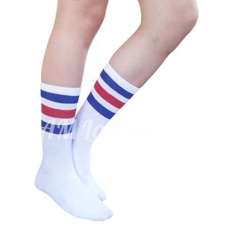 AM Landen Super Cute White with Blue and Red Stripe Women's Mid-Calf Striped Crew Socks