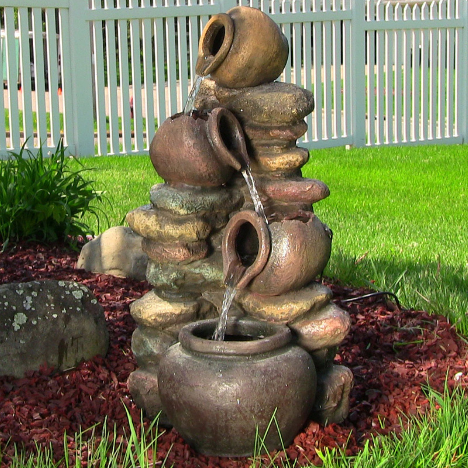 Sunnydaze Decor Honey Pot With Stones Electric Outdoor Water Fountain With  LED Light