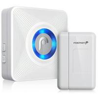 Fosmon WaveLink 51004HOM Wireless Door Open Chime Sensor Alarm Doorbell for Store, Restaurant, Business, Company & More, 400FT Range 52 Chime, 1 Sensor, 1 Receiver