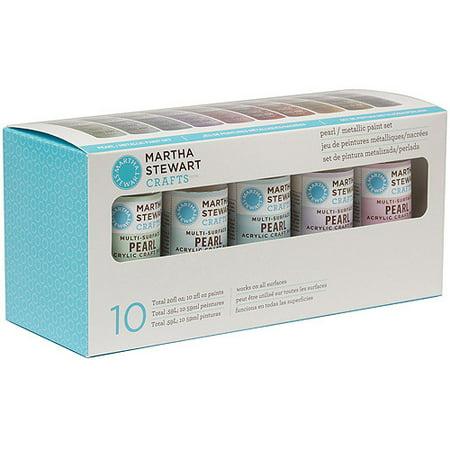 Martha stewart pearl metallic acrylic craft paint set for Craft smart acrylic paint walmart
