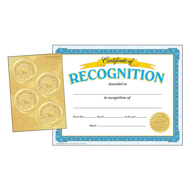 RECOGNITION CERTIFICATES & CONGRATULATIONS SEALS