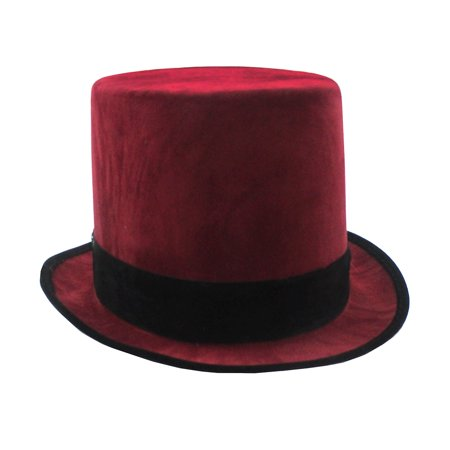 9 Days Till Halloween (Deluxe Maroon Velvet Tall Victorian Top Hat Halloween Cosplay Accessory)