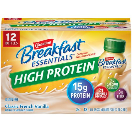 Carnation Breakfast Drink - Carnation Breakfast Essentials High Protein Classic French Vanilla Nutritional Drink, 8 Fl. Oz., 12 Count